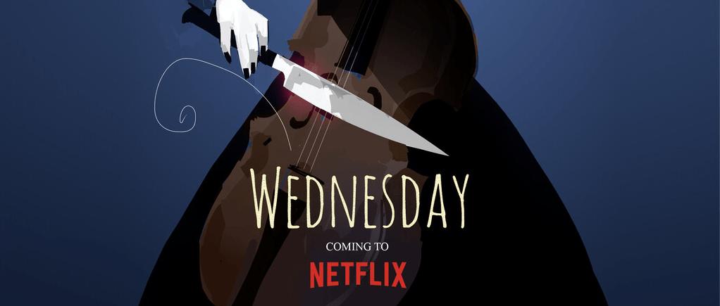 Cartel de Wednesday serie dirigida por Tim Burton