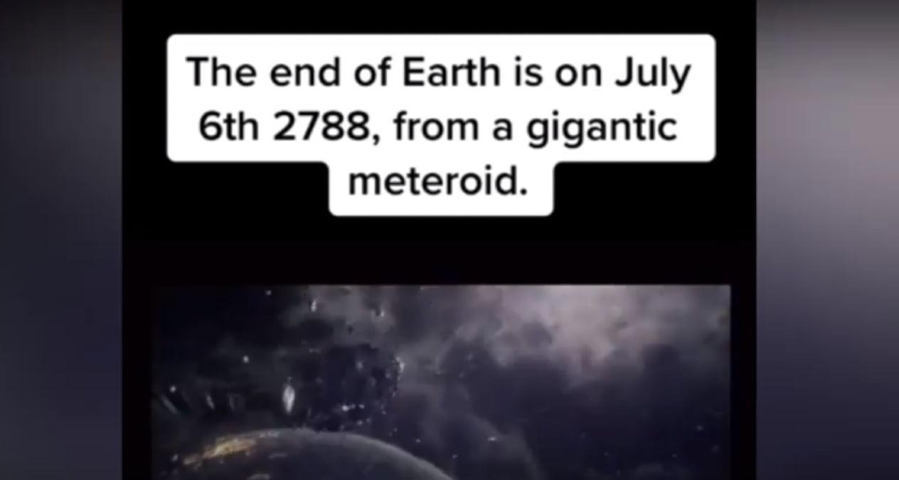 Captura de pantalla del video en el que un usuario de Tik Tok predice el fin del mundo