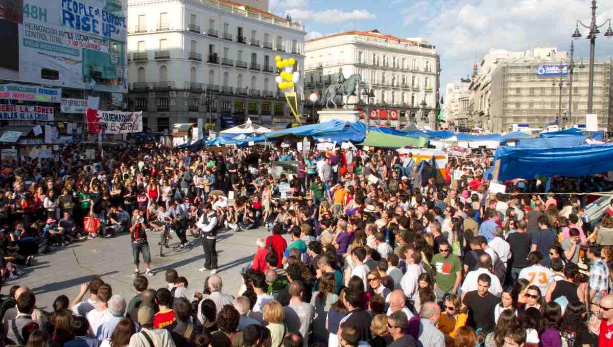 Manifestación del 15M en la Plaza del Sol de Madrid